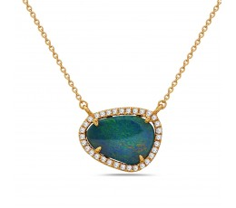 Black Opal & Diamond Necklace