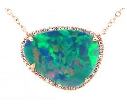Black Opal Doublet & Diamond Pendant Necklace