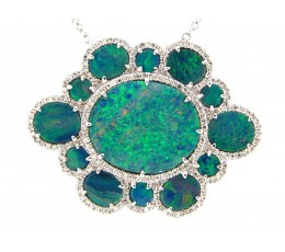 Black Opal & Diamond Pendant Necklace