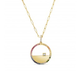 Rainbow Sapphire & Diamond Pendant