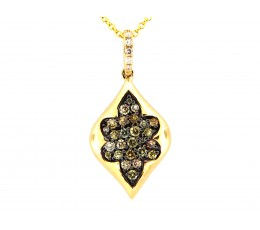 Brown Fancy Diamond Pave Cluster Leaf Pendant