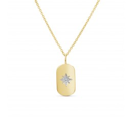 Diamond Starburst Dog Tag Pendant