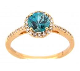 Blue Zircon Round Ring