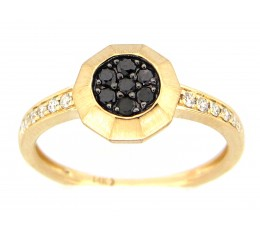 Black & White Diamond Cluster Fashion Ring