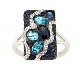 Blue Topaz, Sapphire & Diamond Ring