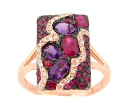 Amethyst, Ruby & Diamond Ring