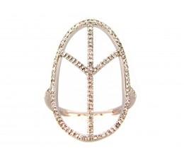 Diamond Oval Peace Ring