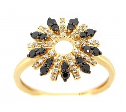 Black & White Diamond Flower Ring