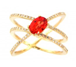 Orange Sapphire & Diamond Ring