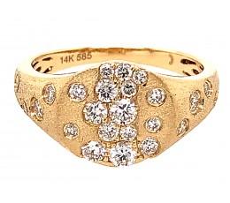 Diamond Scattered Oval Flush Set Ring