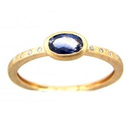 Sapphire Oval Bezel & Diamond Ring