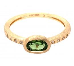 Chrome Tourmaline Oval Bezel & Diamond Ring