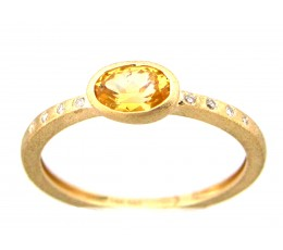 Yellow Sapphire Oval Bezel & Diamond Ring