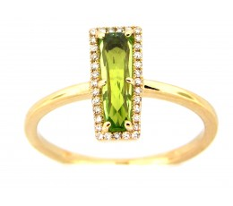 Peridot & Diamond Bar Ring