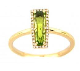 Peridot & Diamond Bar Ring