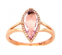Pink Amethyst & Diamond Ring