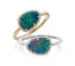 Black Opal Doublet & Diamond halo ring