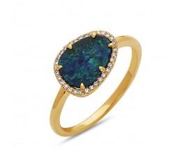 Black Opal Doublet & Diamond halo ring