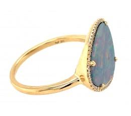 Black Opal Doublet & Diamond Ring