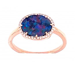 Black Opal Doublet Oval & Diamond Halo Ring