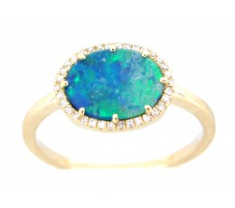 Black Opal Doublet Oval & Diamond Halo Ring