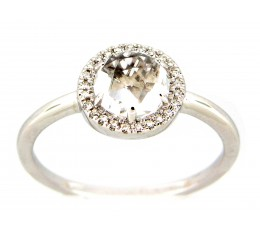 White Topaz & Diamond Halo Ring