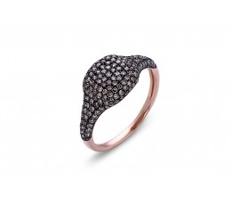Brown Diamond Cushion Pave Ring