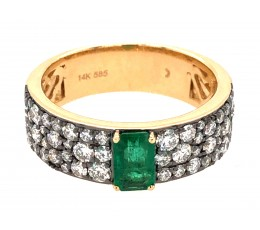 Emerald Oval & Diamond Ring