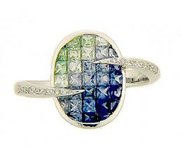 Expression - Shades of Blue Sapphire & Tsavorite Ring