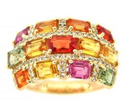 Multi-color Sapphire & Diamond Ring