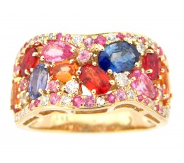 Renaissance Rainbow Sapphire & Diamond Ring