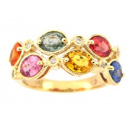 Multi-Color Sapphire and Diamond Ring