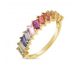 Rainbow Sapphire Baguette Arrayed Ring
