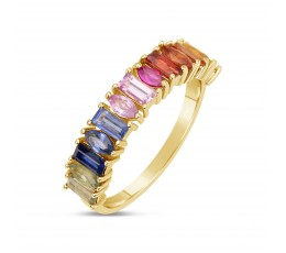 Rainbow Sapphire Baguette & Marquise Ring