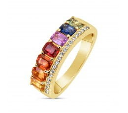 Rainbow Sapphire & Diamond Band