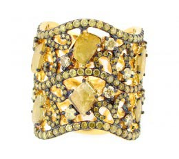 Rose Cut Slice Yellow Diamond Ring