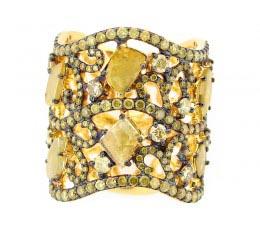 Rose Cut Slice Yellow Diamond Ring
