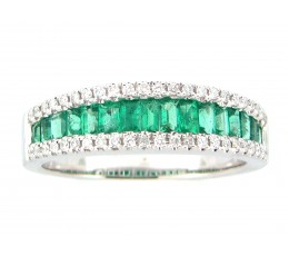 Emerald Baguette & Diamond Band
