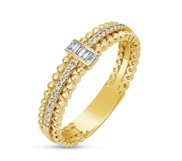Diamond Bead and Baguette Ring
