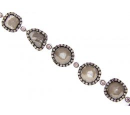 Rose Cut Slice Grey Diamond Bracelet