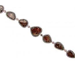 Rose Rough Cut Fancy Color Diamond Bracelet