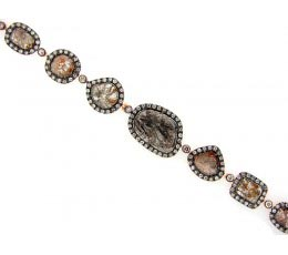 Rose Rough Cut Fancy Color Diamond Bracelet