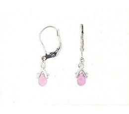 Briolette Pink Sapphire & Diamond Earring