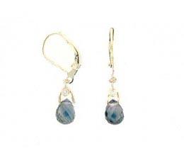 Briolette Green Sapphire & Diamond Earring