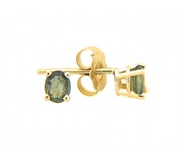 Green Sapphire Stud Earring