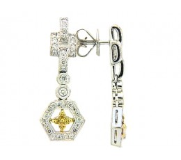 Yellow & White Diamond Hexagon Drop Earring