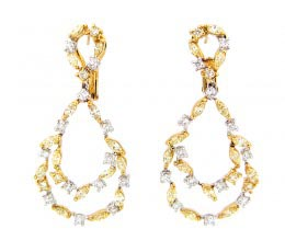 Yellow & White Diamond Earring