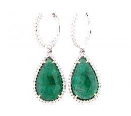 Rose Cut Emerald & Diamond Earring