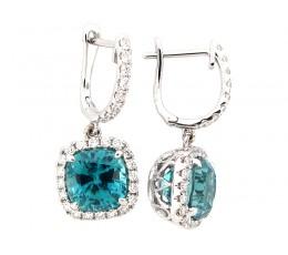 Blue Zircon & Diamond Dangle Earring