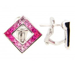 Pink Sapphire Princess Square Earring